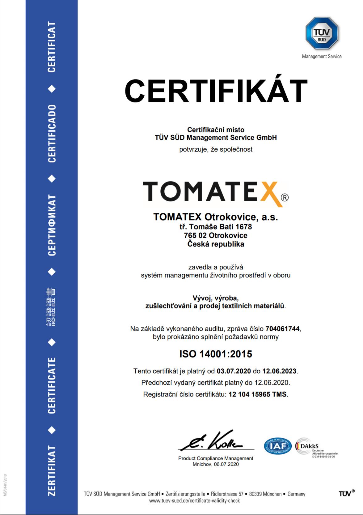 ISO 14001:2015 CZ TOMATEX