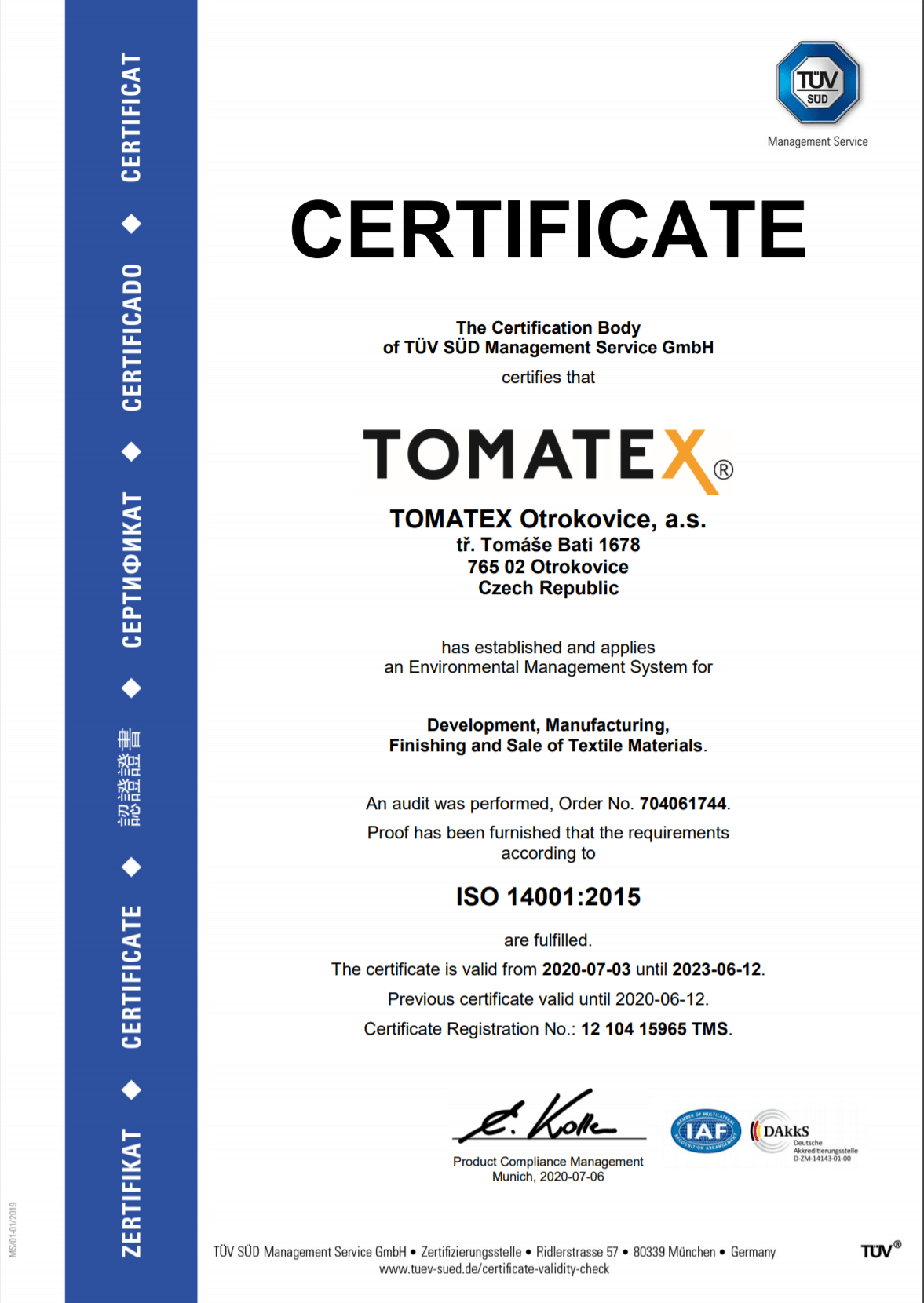 ISO 14001:2015 EN TOMATEX