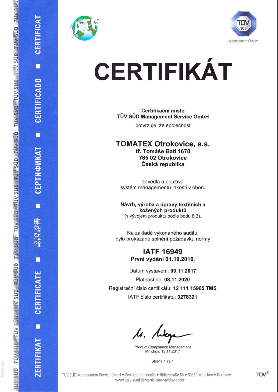 IATF 16949_CZ TOMATEX
